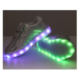 18 Units of Led Shoes Kids Mix Size ( 18 Pairs ) Silver Only - Unisex Footwear