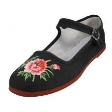 36 Units of Women's Classic Embroidered Cotton Mary Jane Shoes - Women's Flats