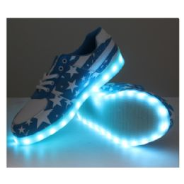 6 Units of Led Shoes Adult Mix Size Blue With White Stars - Unisex Footwear