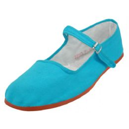 36 Units of Girl's Classic Cotton Mary Jane Shoes Turquoise Color Only - Girls Shoes