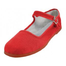 36 Units of Girl's Classic Cotton Mary Jane Shoes Red Color Only - Girls Shoes