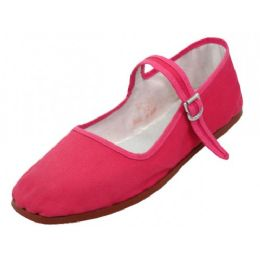36 Units of Girl's Classic Cotton Mary Jane Shoes Fuchsia Color Only - Girls Shoes
