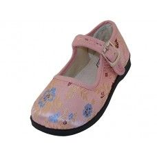 36 Units of Girls' Satin Brocade Plum Flower Upper Mary Janes Shoe - Pink Color Only - Girls Shoes