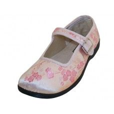 36 Units of Youth's Satin Brocade Plum Flower Upper Mary Janes Shoe Pink Color - Girls Shoes