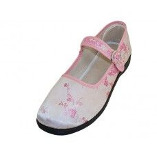 36 Units of Women's Satin Brocade Mary Jane Shoes Pink Color Only - Women's Flats