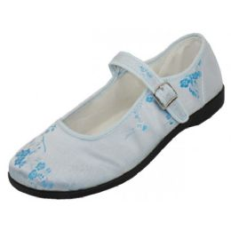 36 Units of Women's Satin Brocade Mary Jane Shoes( Light Blue Color Only ) - Women's Flats