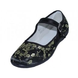 36 Units of Women's Satin Brocade Mary Jane Shoes( Black Color Only ) - Women's Flats