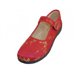 36 Units of Women's Satin Brocade Plum Flower Upper Mary Janes Shoe ( Red Color) - Women's Flats