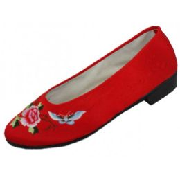 24 Units of Women's Satin Embroidered Shoes ( Red Color Only) - Women's Flats