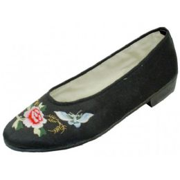 24 Units of Women's Satin Embroidered SHOES (Black Color Only)