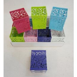 "60 Units of Square Metal Pencil Holder [Roses] Assorted colors. 3.25""x3.25""x4"". - Pencil Boxes & Pouches"