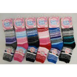 60 Units of Womens Striped Super Warm And Soft Fuzzy Socks - Womens Fuzzy Socks