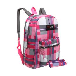 20 Units of MGgear 16.5 inch Pink Plaid Wholesale Backpacks For Girls - Backpacks 16""