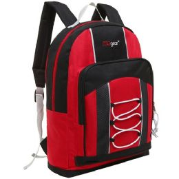 20 Units of 15.5 Inch Bungee Pocket Elementary School Backpack For Kids, Red Color Only - Backpacks 16""