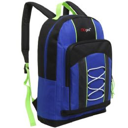 20 Units of 15.5 Inch Bungee Pocket Elementary School Backpack For Kids, Blue Color Only - Backpacks 16""