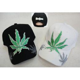 24 Units of Marijuana Leaf Hat With Shadow On Bill - Baseball Caps & Snap Backs