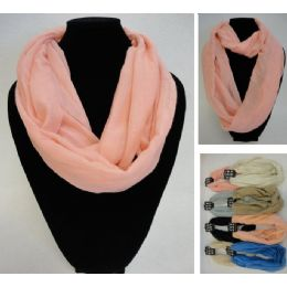 12 Units of Light Weight Infinity Scarf [Solid Colors] - Womens Fashion Scarves