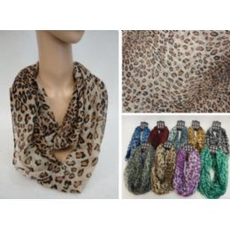 12 Units of Light Weight Infinity Scarf [Colorful Leopard] - Womens Fashion Scarves