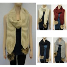 24 Units of Tight Knit With Fur Pompoms Knitted Scarf - Winter Scarves