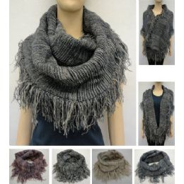 24 Units of Knitted Infinity Scarf With Fringe [tight KniT-Variegated] - Winter Scarves
