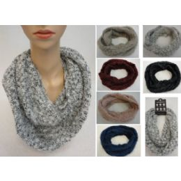 24 Units of Woven Knit With Shag Knitted Infinity Scarf - Winter Scarves