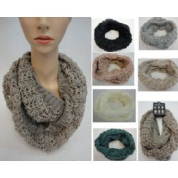 24 Units of Metallic & Sequin Accent Knitted Infinity Scarf - Winter Scarves
