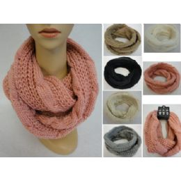 24 Units of Knitted Infinity Scarf [lg Cable Knit] - Winter Scarves