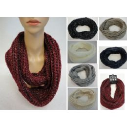 24 Units of Metallic Knitted Infinity Scarf - Winter Scarves