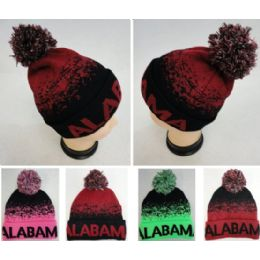 48 Units of Alabama Knitted Hat with Pom Pom - Winter Beanie Hats