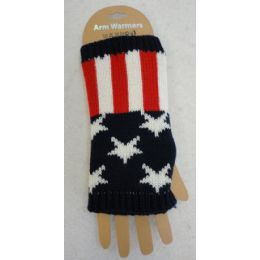48 Units of American Flag Knitted Hand Warmers - Arm & Leg Warmers