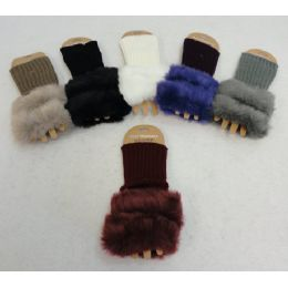 48 Units of Knitted Hand Warmers [plush Trim] - Arm & Leg Warmers