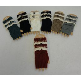 48 Units of Knitted Hand Warmers [antique LacE-1 Button]assorted Colors - Arm & Leg Warmers