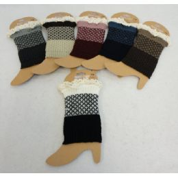 12 Units of Knitted Boot Cuffs-Antique Lace [Solid Bottom/Two-Tone Top] - Knitted Stretch Gloves