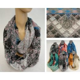 12 Units of Extra-Wide Light Weight Infinity Scarf [Victorian Floral] - Womens Fashion Scarves