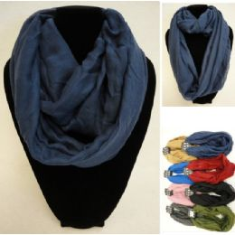12 Units of Extra-Wide Light Weight Infinity Scarf [Solid Colors] - Womens Fashion Scarves