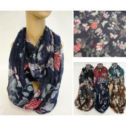 12 Units of Extra-Wide Light Weight Infinity Scarf [Butterfly & Roses] - Womens Fashion Scarves