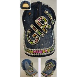 30 Units of Denim Hat With Bling [girl] - Hats With Sayings