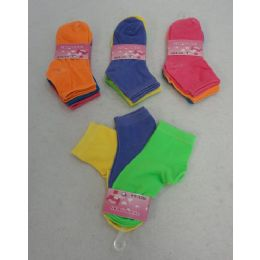 60 Units of Girl's Anklet Socks 4-6[solid Colors] - Girls Ankle Sock