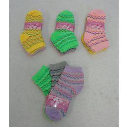 60 Units of Girl's Anklet Socks 4-6[chevron] - Girls Ankle Sock