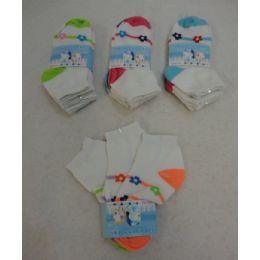 60 Units of Girl's Anklet Socks 4-6 [stripes & Daisies] - Girls Ankle Sock