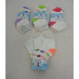240 Units of Girl's Anklet Socks 2-4 [stripes & Daisies] - Girls Ankle Sock