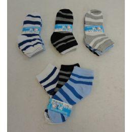 60 Units of Boy's Anklet Socks 4-6[Stripes] - Boys Ankle Sock