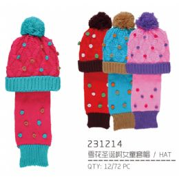 48 Units of Kids Winter Set Hat And Scarf With Plush Material Inside Hat - Junior / Kids Winter Hats