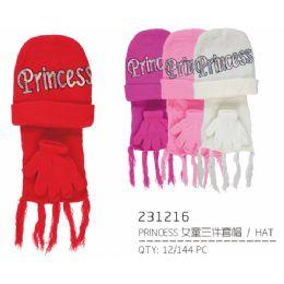 72 Units of Assorted Color Princess Hat - Junior / Kids Winter Hats