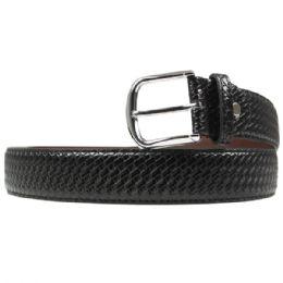 36 Units of Mens Black Braided Belt - Mens Belts