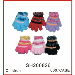 144 Units of Assorted Color Mittens - Knitted Stretch Gloves
