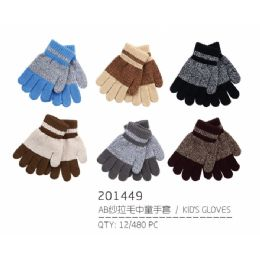 72 Units of Kids Assorted Color Winter Gloves With Fur Lining - Kids Winter Gloves