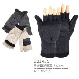 72 Units of Adult Fingerless Gloves With Cover - Knitted Stretch Gloves