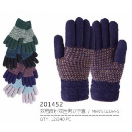 72 Units of Men's Winter Gloves - Knitted Stretch Gloves