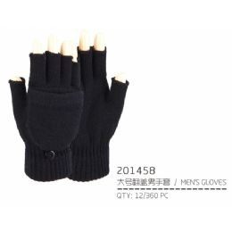 72 Units of Men's Black Fingerless Gloves with Cover - Knitted Stretch Gloves